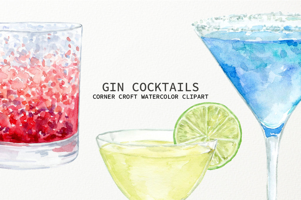 watercolor gin cocktail clipart, alcoholic drink clipart, gin and tonic, martini illustration