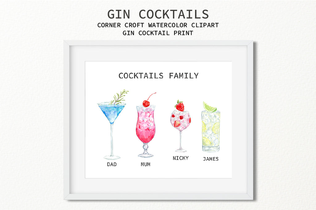 watercolor gin cocktail collection for making personalised prints