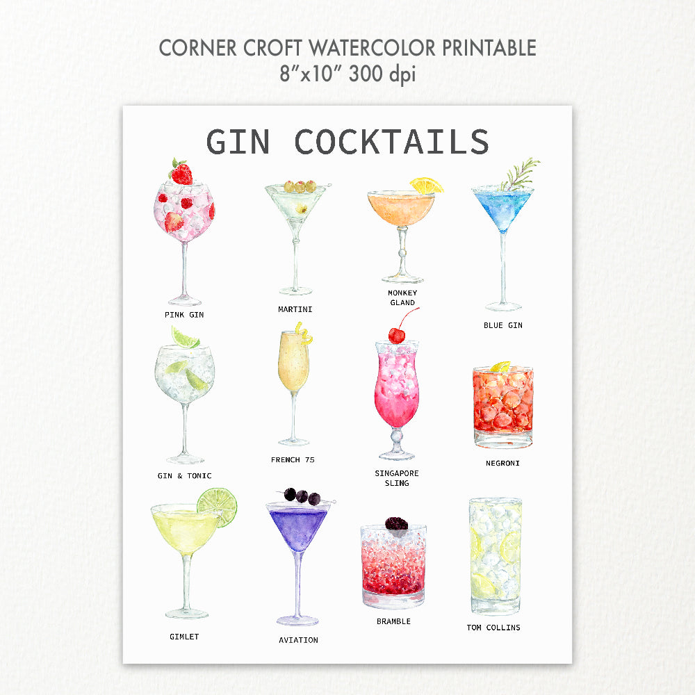 watercolor gin cocktail print 8x10 instant download