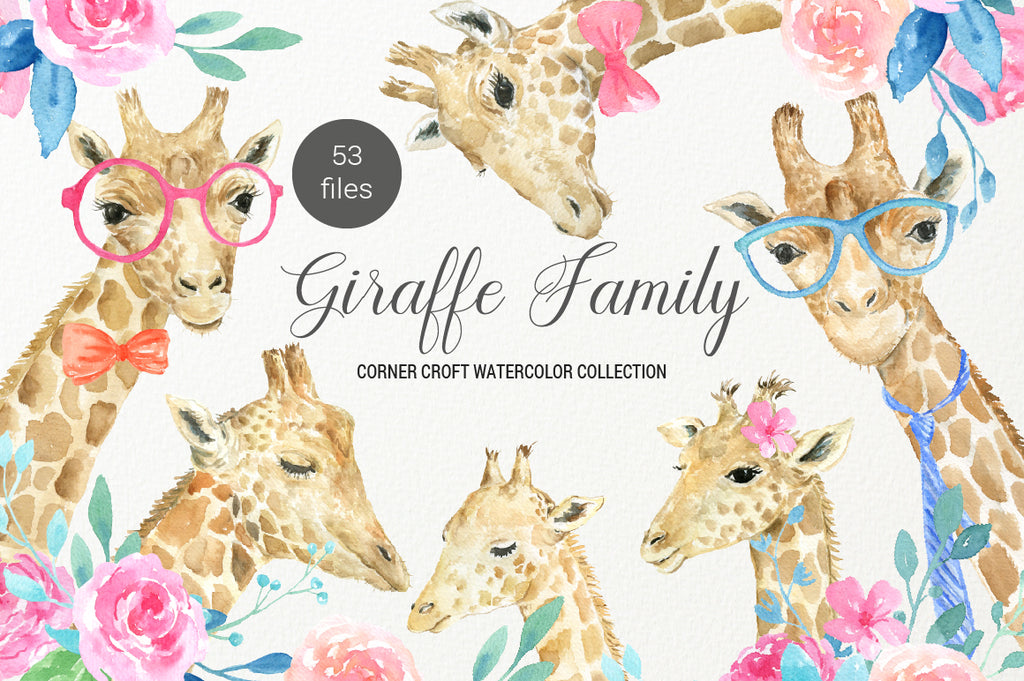 watercolor giraffe portrait, female giraffe, male giraffe and baby giraffe, nature, animal illustration