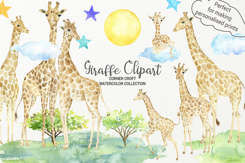 watercolor giraffe clipart, giraffe figurine, giraffe family, instant download