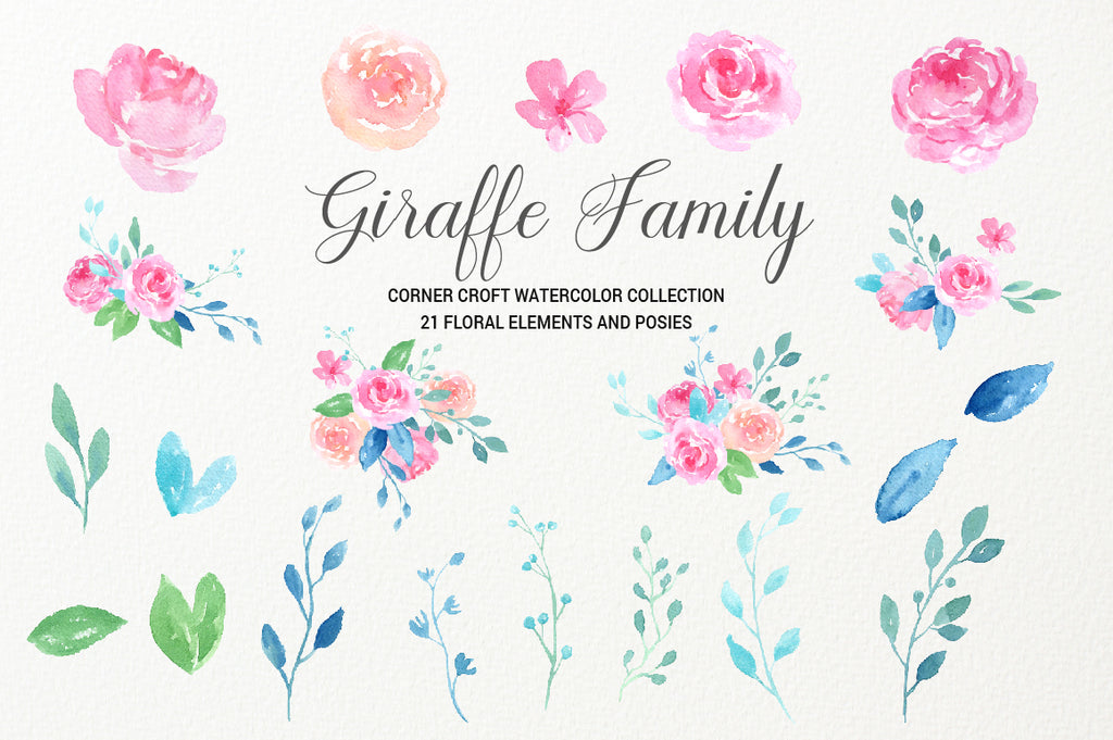 realistic giraffe illustration, pink rose flower clipart instant download