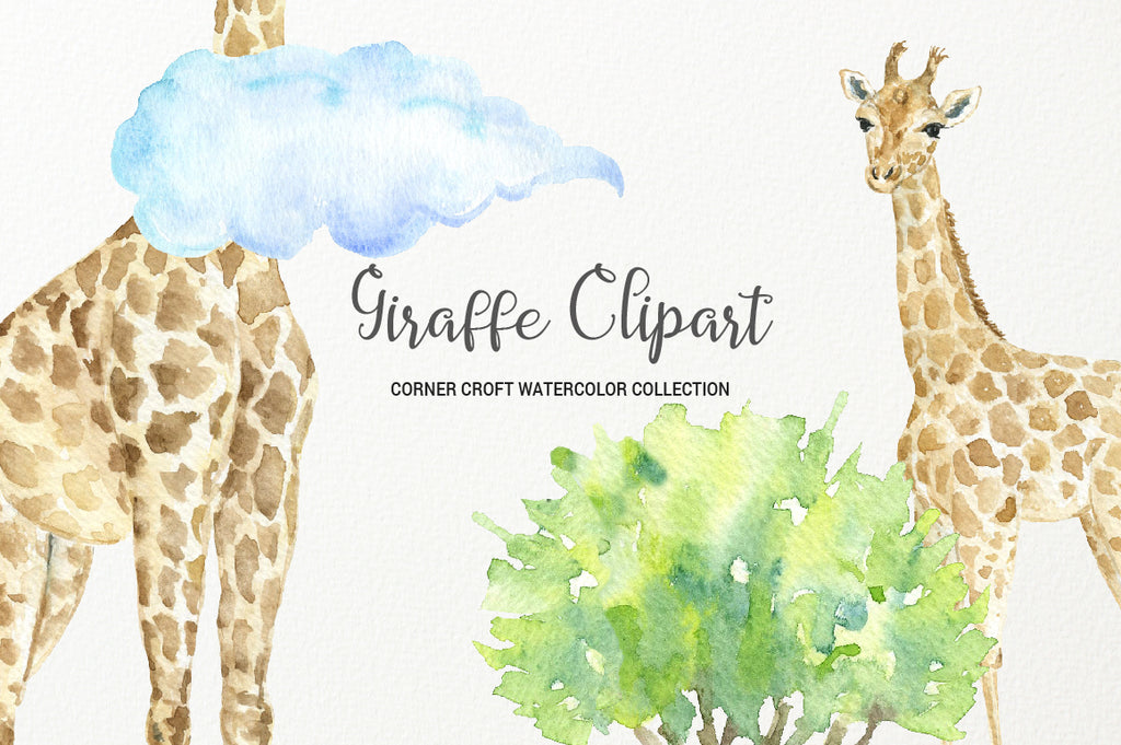 giraffe clipart, watercolour giraffe family, instant download