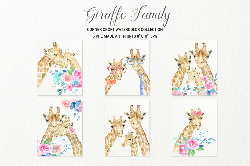 watercolor giraffe portrait, giraffe print, giraffe family print, instant download