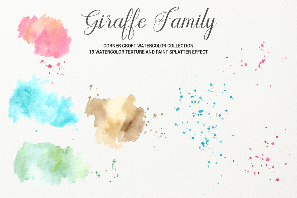 watercolor texture, giraffe illustration, watercolor effect