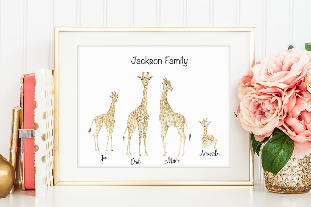giraffe personalised print creator, giraffe illustration, watercolor giraffe