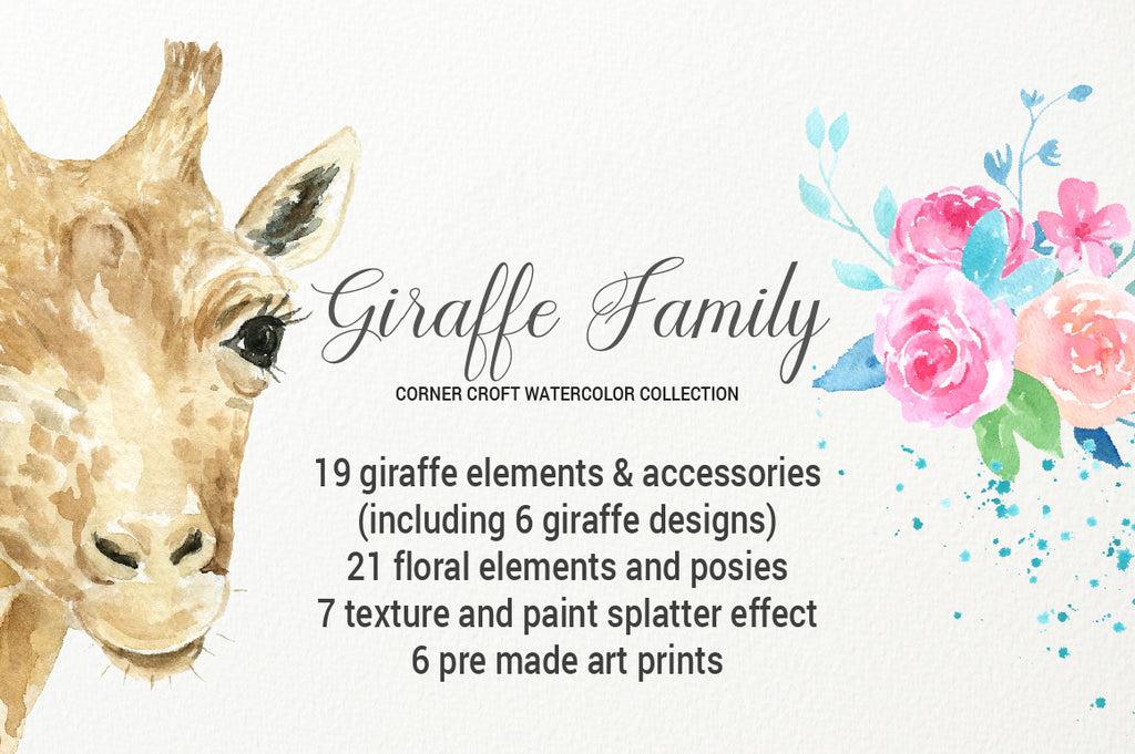 watercolour wildlife giraffe portrait, funny giraffe, giraffe with glasses