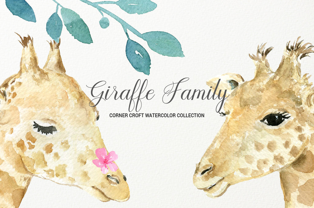 realistic watercolor giraffe print, giraffe portrait for making personalised print, my family print
