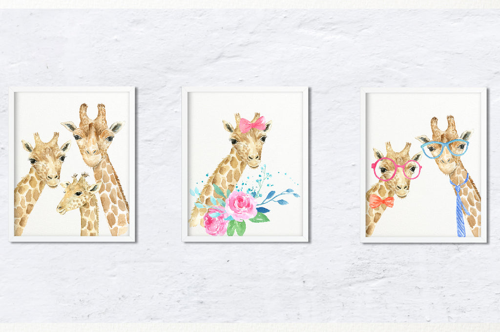 watercolor giraffe print, personalised print, my family print creator