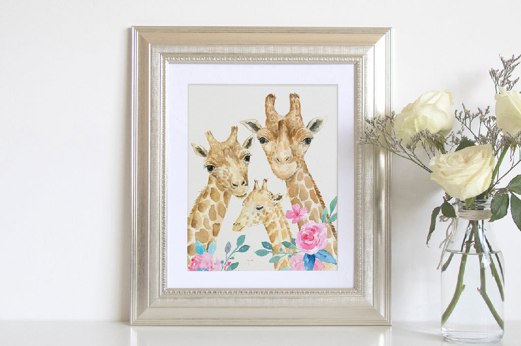 watercolor giraffe clipart, personalised print instant download