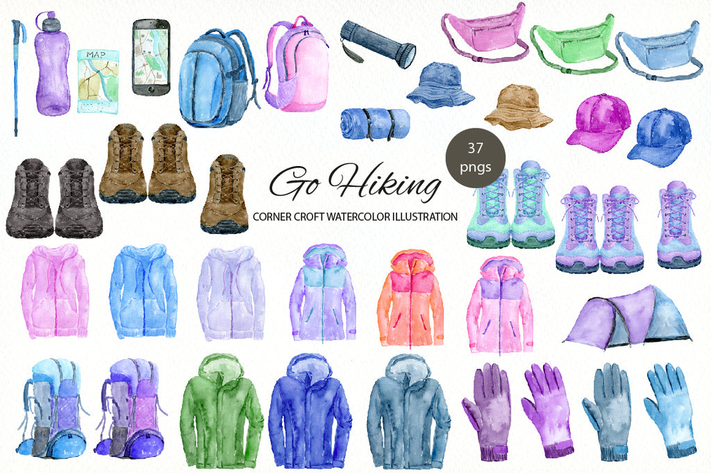 watercolour hiking jacket, rucksack, gloves, bumbag, hiking boots, hiking clipart