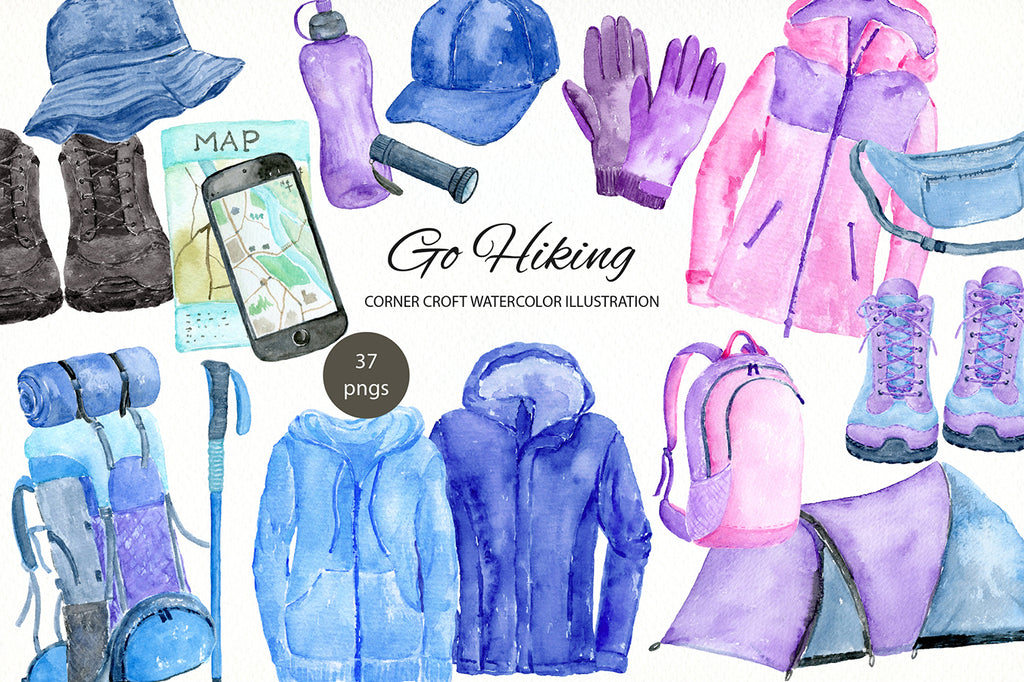 Watercolor hiking clipart, trekking clipart, walking clipart
