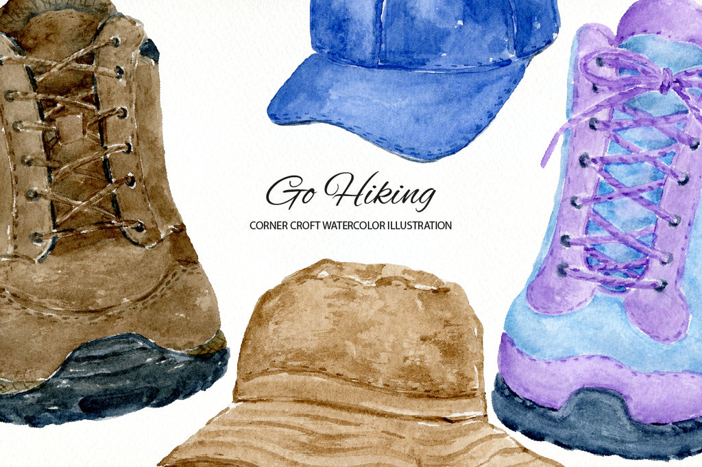watercolor go hiking illustration for instant download, hiking boots, women's coat, men's coat