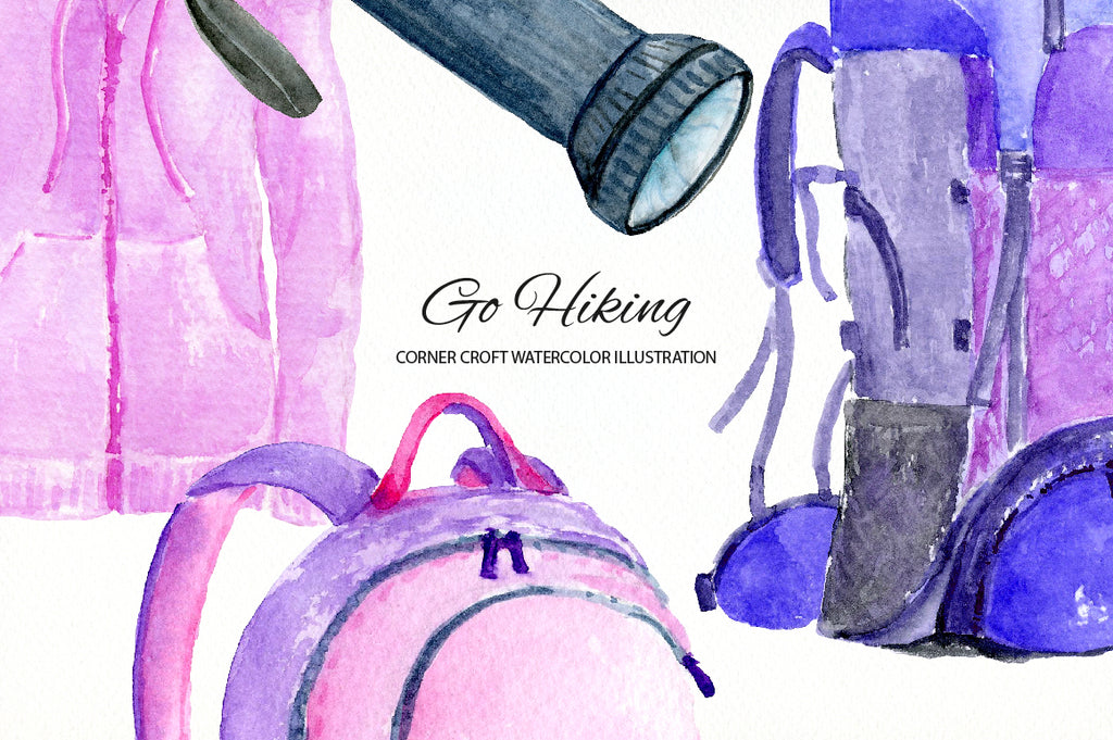 watercolour hiking gear illustration, watercolor clipart instant download