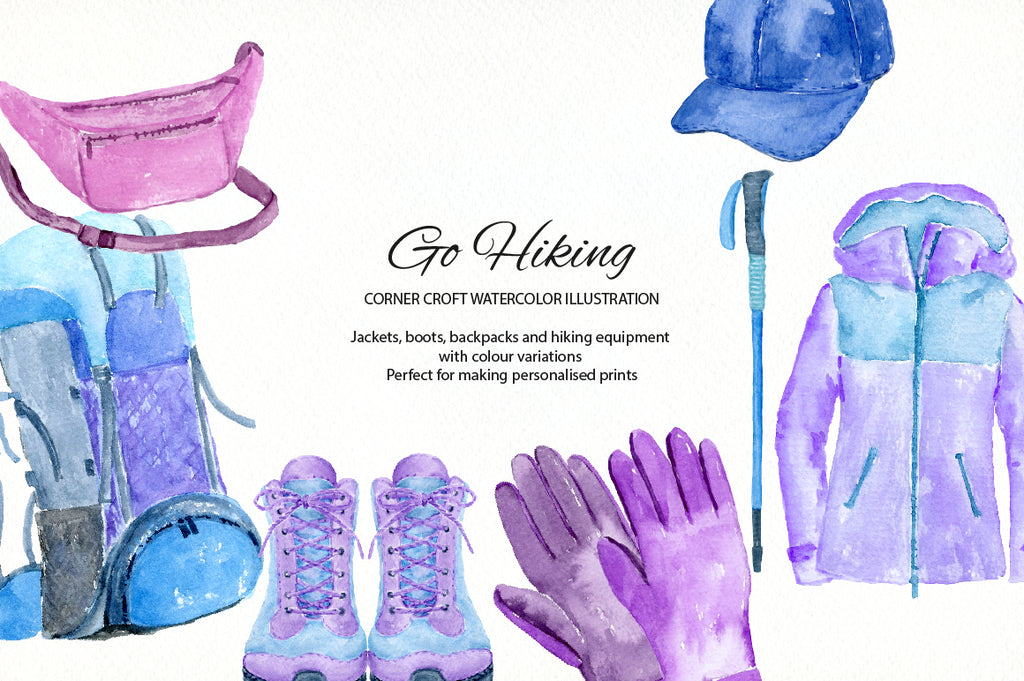 hiking clipart, hiking illustration, hat and cap, watercolor proof jacket illustration