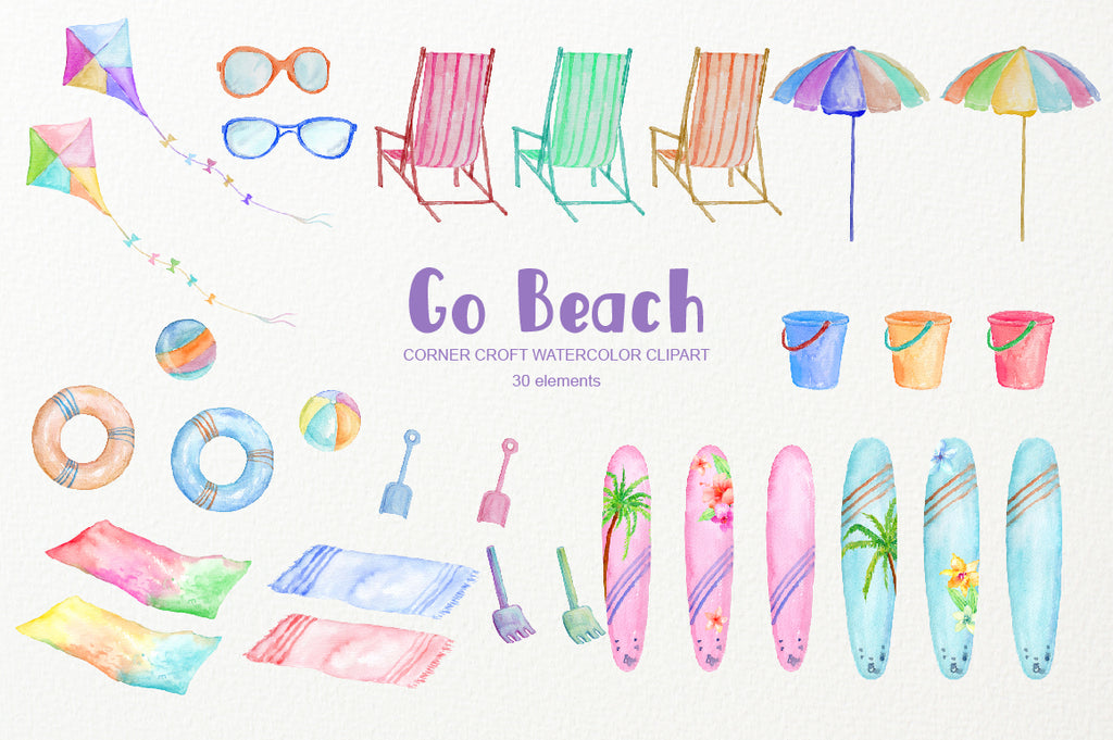 Watercolor clipart go beach, surfboards, kite, beach parasol, deck chair, bucket and spade, sun glasses, beach towels, floats and beach balls