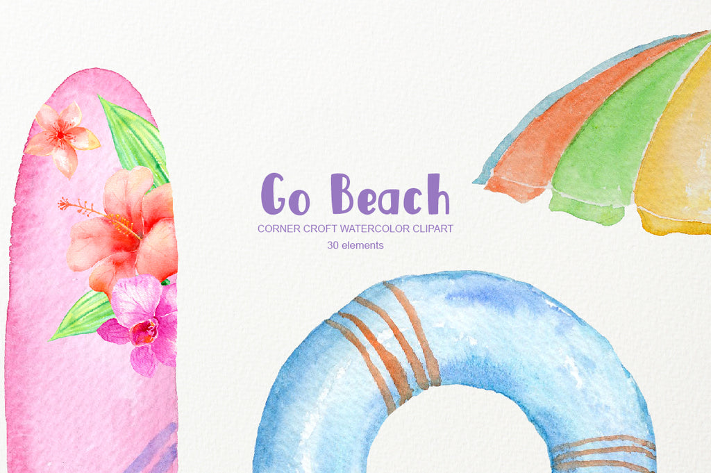 watercolor surfboad sun glasses instant download