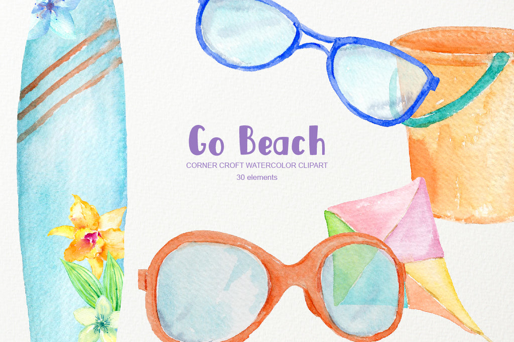 Watercolor beach clipart, surfboard, kite, children beach play instant download