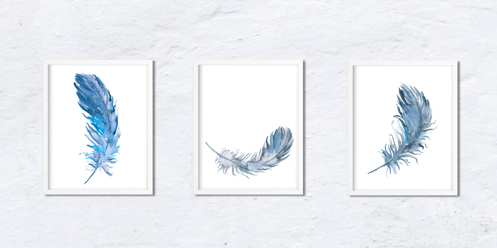 Group of 3 abstract blue feather, watercolor feather illustration, Corner Croft art prints