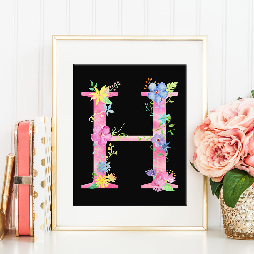 watercolor letter H, capital letter H, alphabet H, name initial H printable