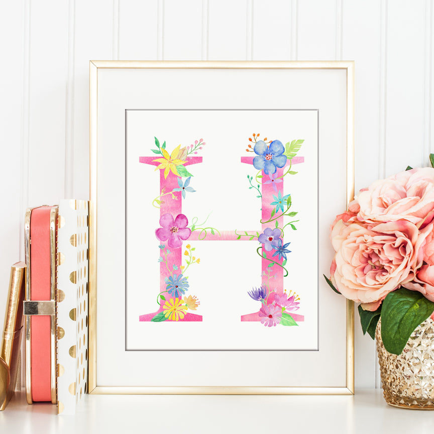 watercolor floral letter H, pink floral letter H, watercolor name initial H, girl room deco.