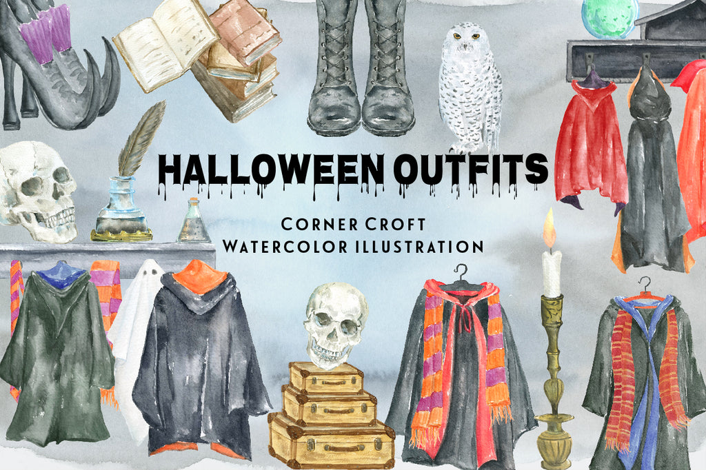 watercolor Halloween outfit illustration, Halloween coat on hooks, black coat, cloak, scarf, magic book, skulls, instant download