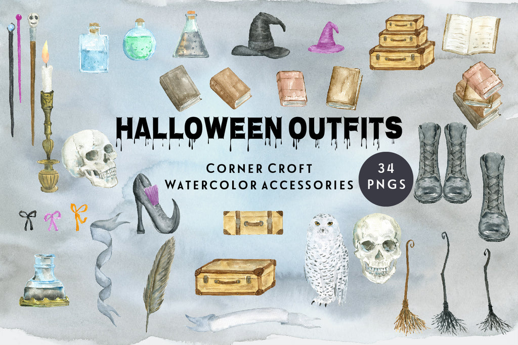 watercolor halloween elements, magic books, skull, broom, witch's shoes, suitcase, ink and pen,