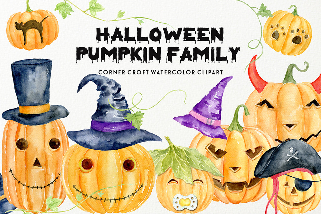 watercolor carved pumpkin, witch's hat, pirate's hat, eye patch, pumpkin vines, instant download