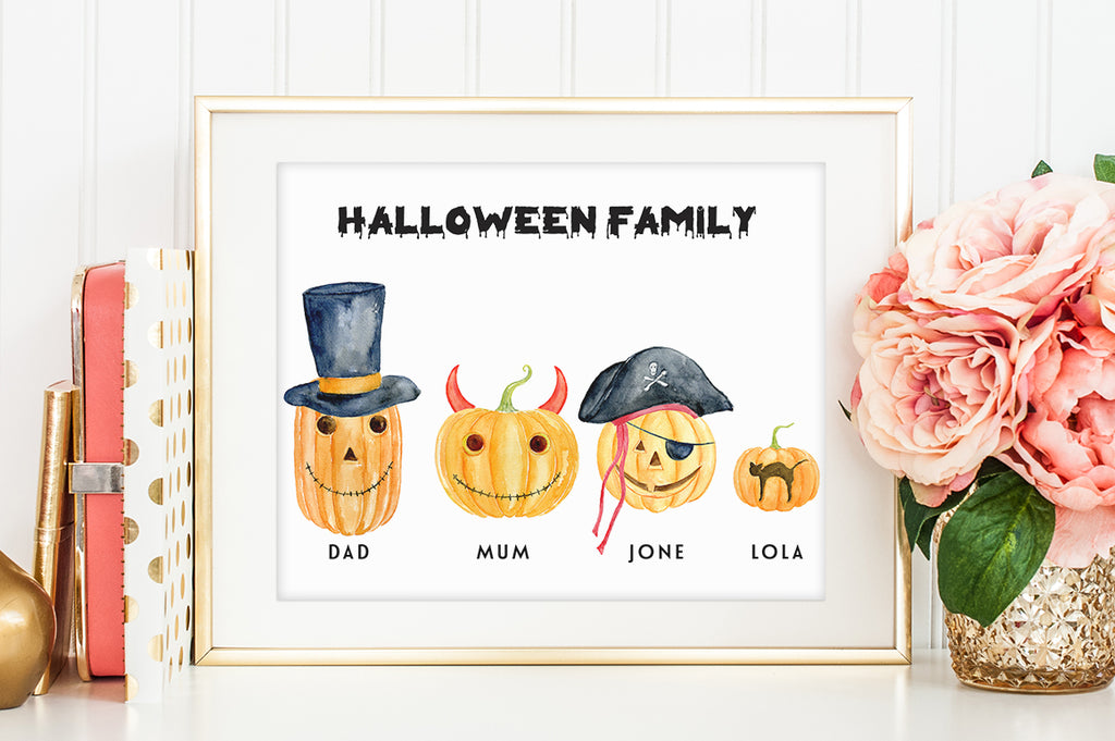 watercolor personalised print, halloween pumpkin family, instant download