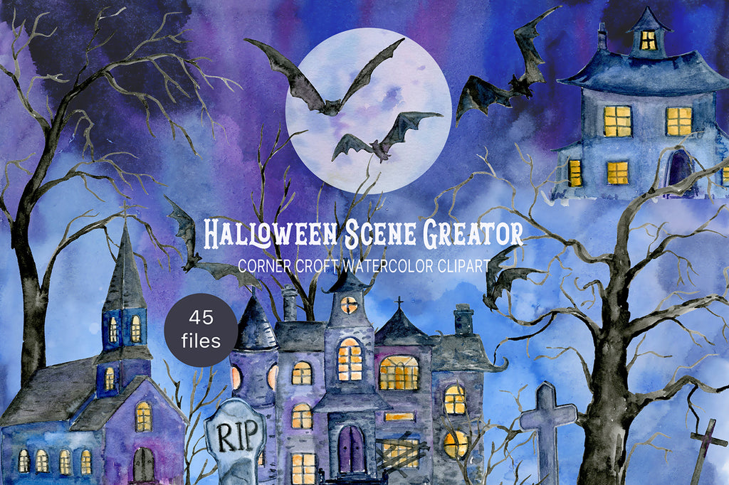 watercolor halloween scene creator, haunted house, church and castle for instant download,