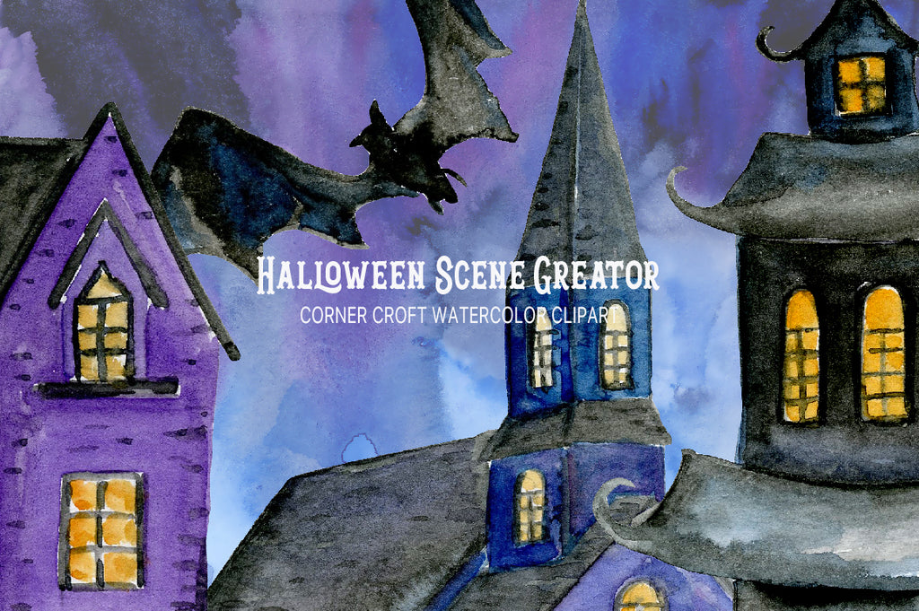 watercolor clipart Halloween scene creator, haunted church, haunted house, instant download