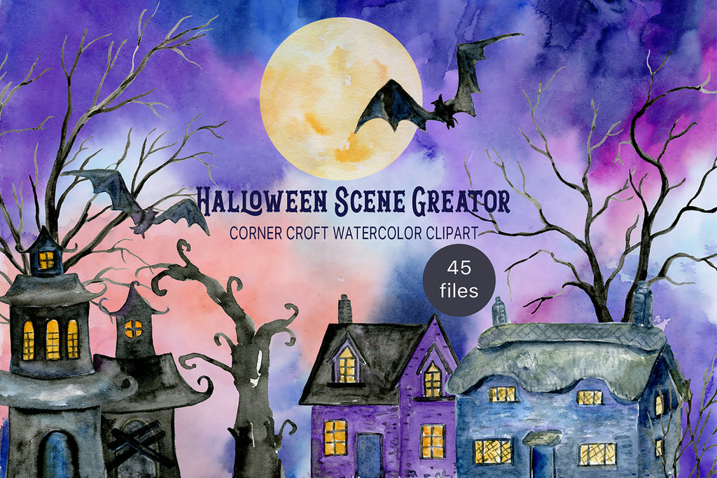 watercolor haunted house, night scene creator, instant download