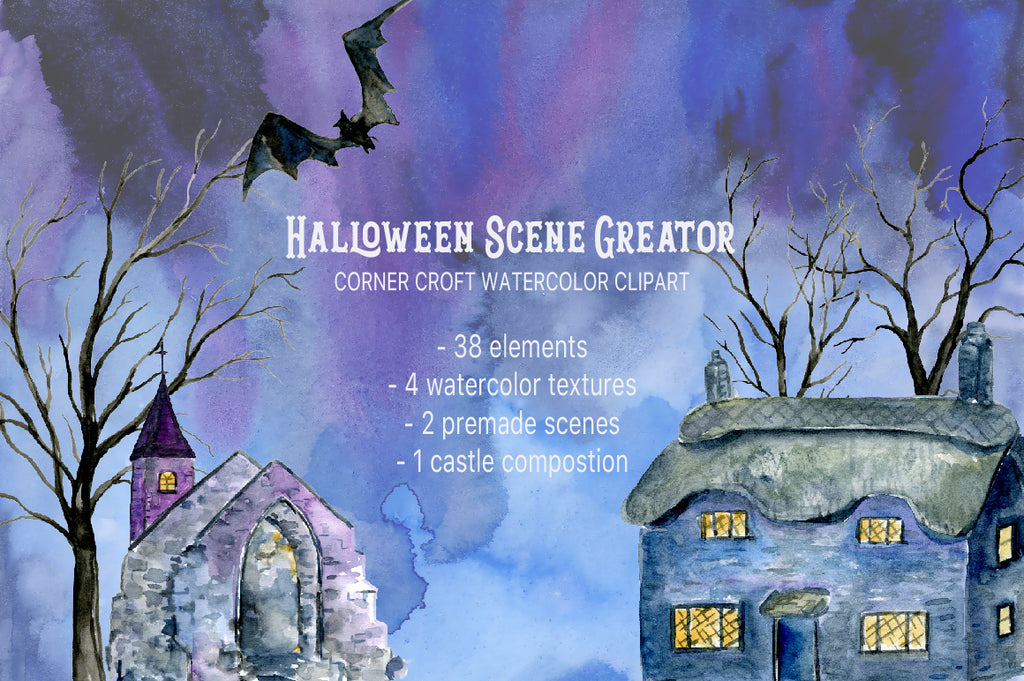 watercolor clipart, halloween illustration, haunted house for instant download