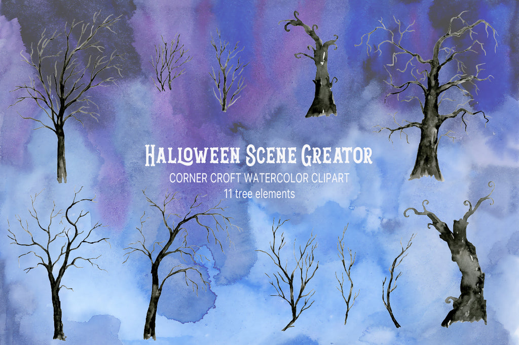 watercolor spooky trees, black trees, halloween trees, instant download