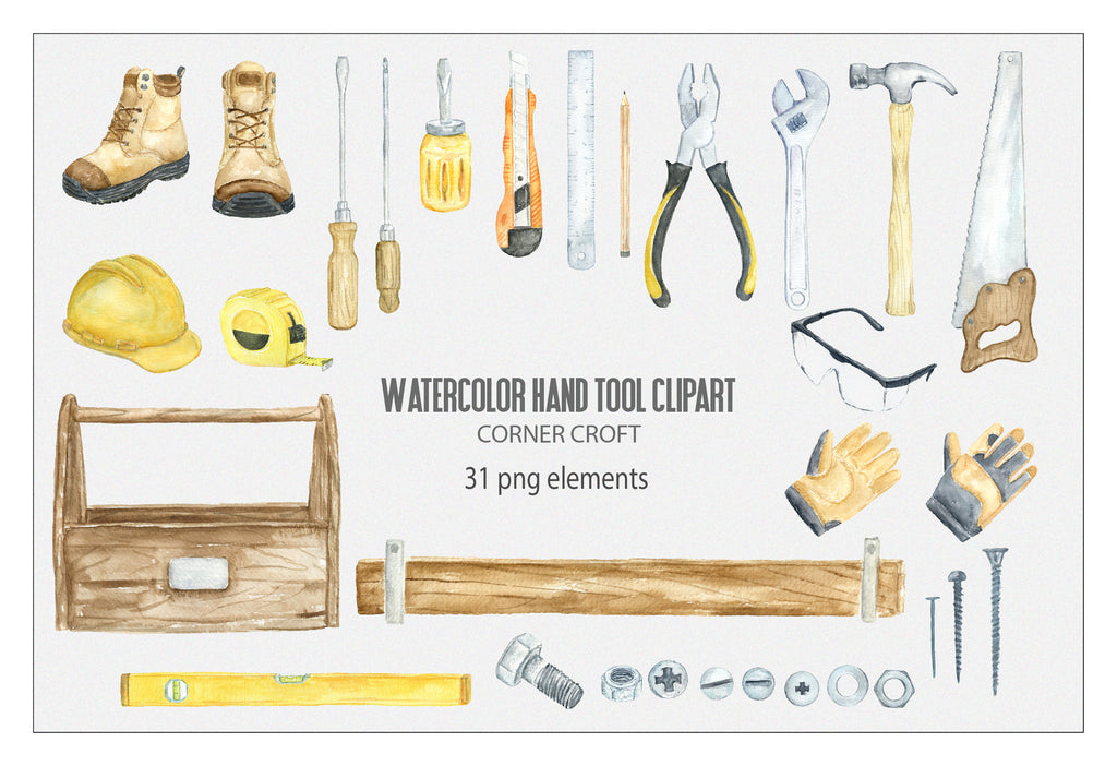 hand painted watercolor hand tools, spanner, plier, screwdriver, detailed illustration