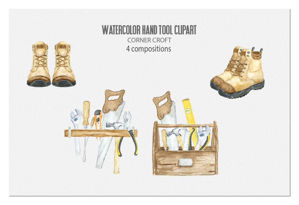 hand painted watercolour hand tools, realistic illustration, pair of boots, instant download