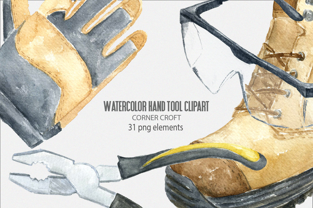 watercolor clipart of gloves, safety goggle, tools, instant download