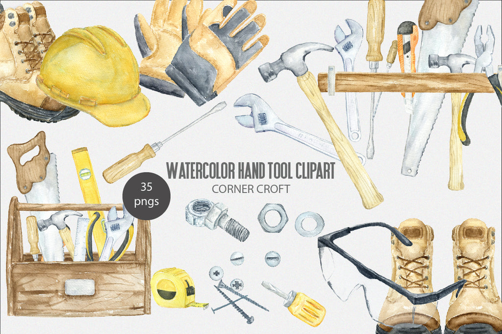 watercolor hand tool clipart, safety boots, bolt and nut, tool box, safety goggle, work gloves, safety hat