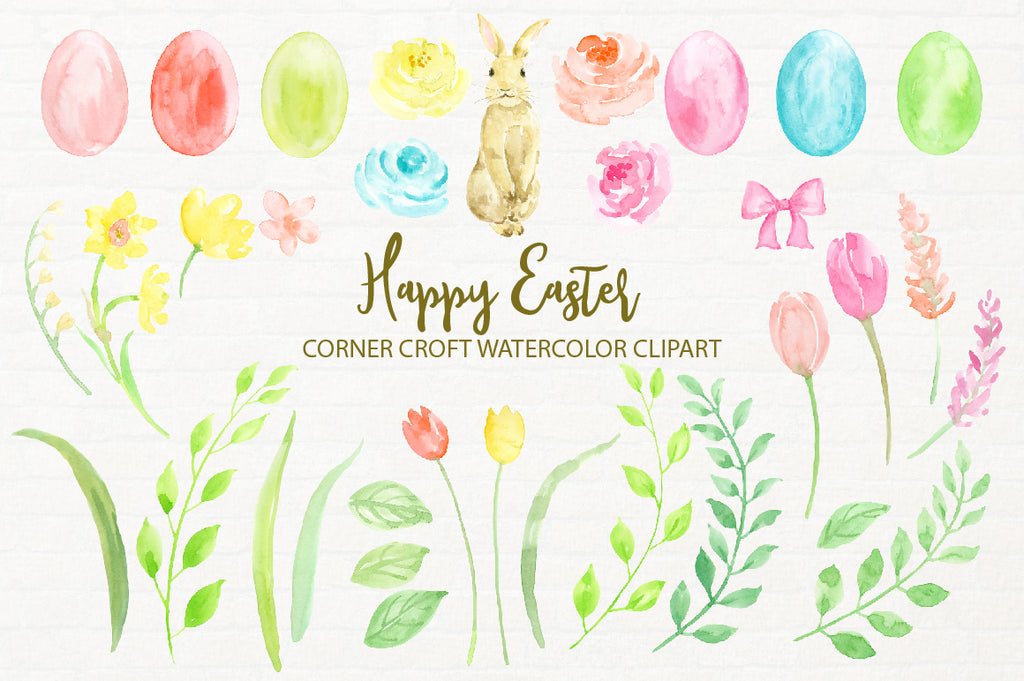 Happy Easter watercolor clipart and greeting cards