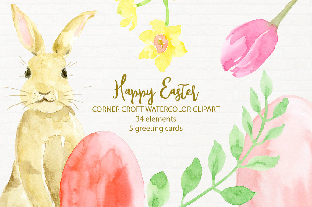 Corner croft watercolor clipart Happy Easter, Easter Bonny, Easter eggs, instant download