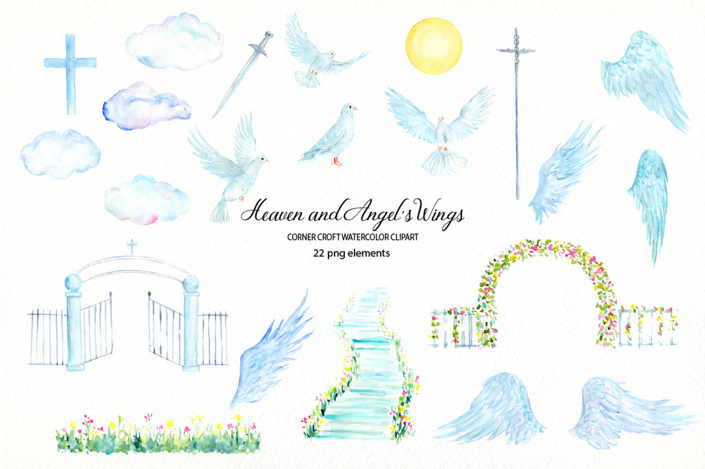 watercolor heaven, angel's wing, step to heaven, heaven gate, angel,