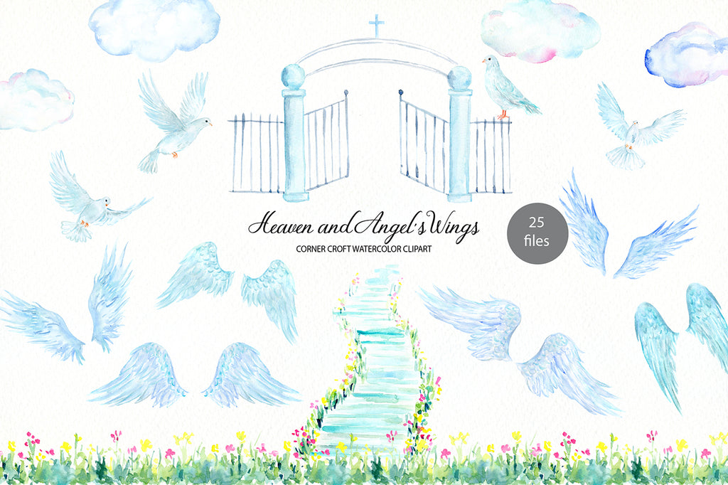atercolor clipart heaven and angel's wing, angel sword, doves, flower border.