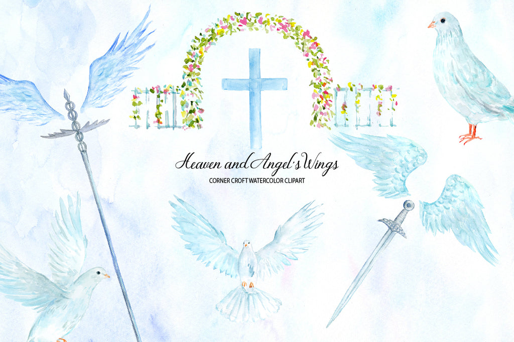 heaven gate, dove, doves, heaven illustration, elements of heaven