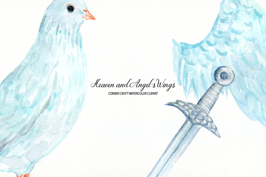 Watercolor clipart heaven, wings and dove, instant download