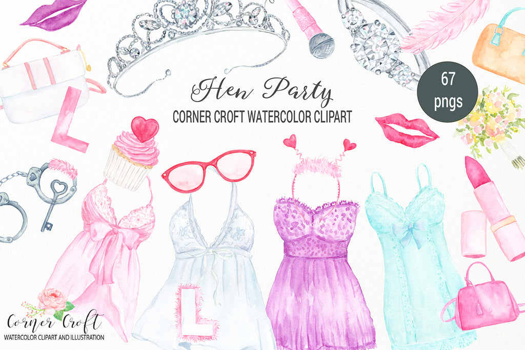 watercolor hen party clipart, sexy cloths, sun glasses, cupcake, lidstick