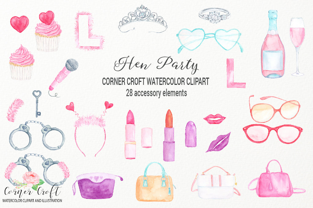 watercolor bridal shower clipart, personalised print, L plate, pink party item, wedding invitation