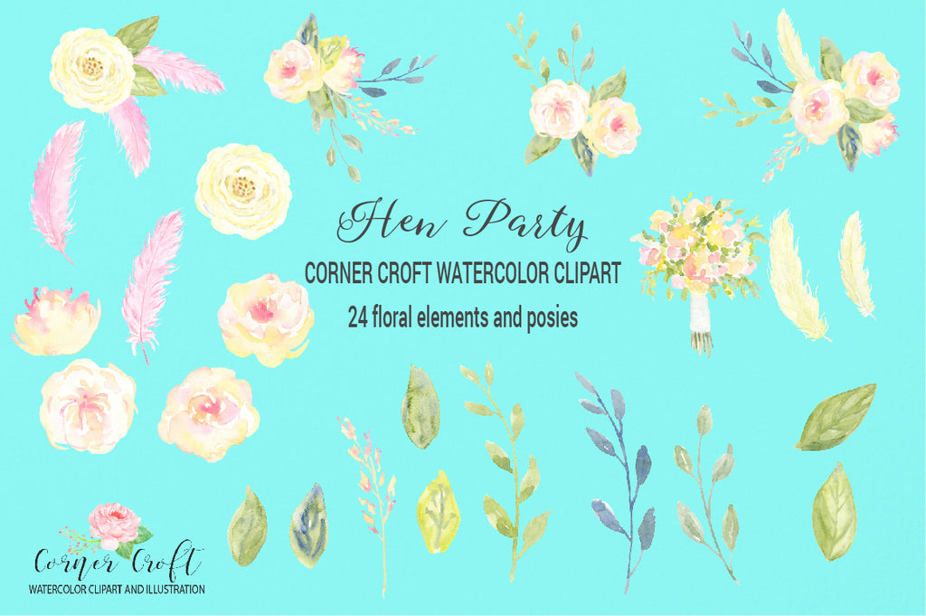 watercolor floral element, hen party illustration, instant download
