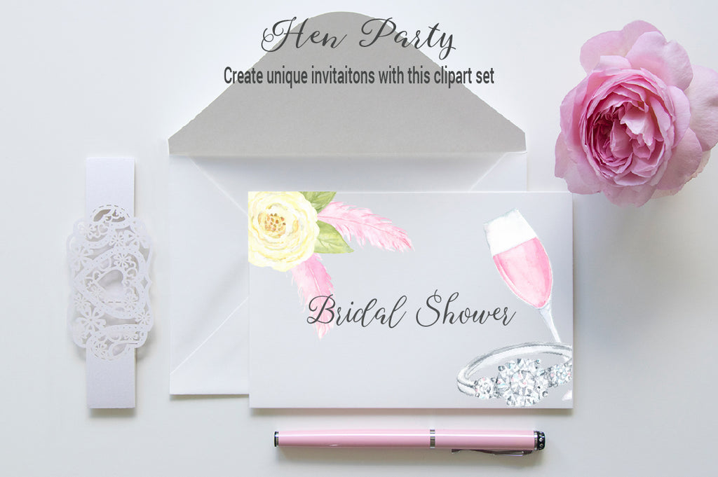 bridal shower invitation, watercolor hen do clipart, hen party clipart
