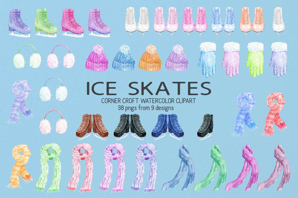 watercolor ice skates blue, white, yellow, pink, and red boots