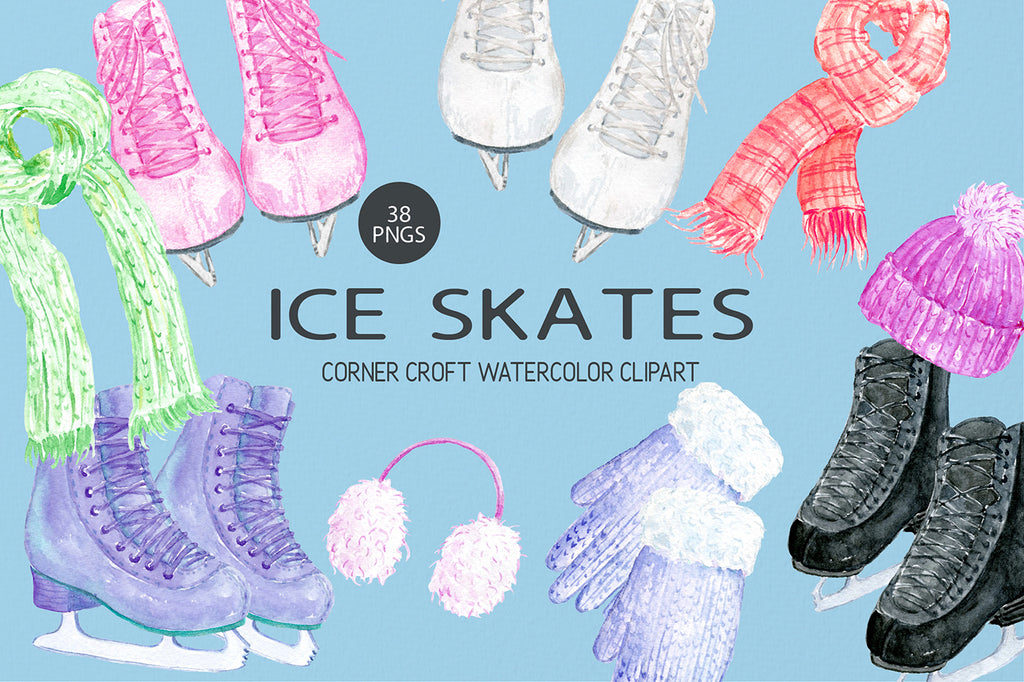 watercolor ice skates illustration, winter sport clipart